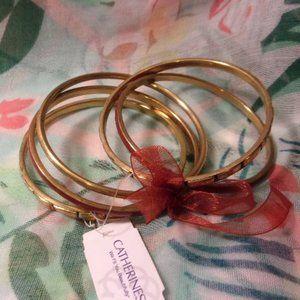 Catherines Gold Tone Brick Bangle Bracelet Set